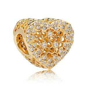 Heart Honeycomb Lace Charm 767039CZ